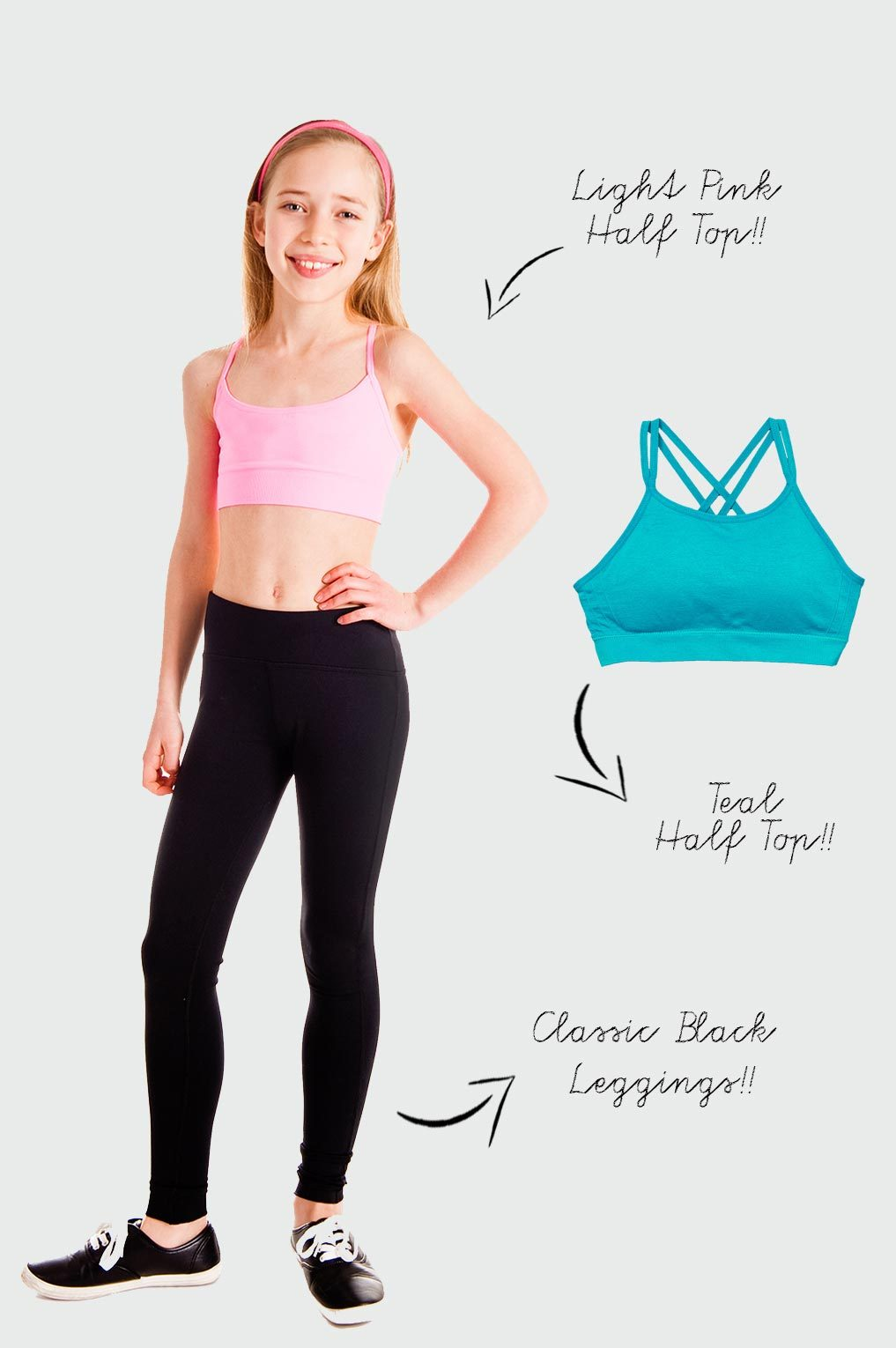 Active Gear 3 Pack - Half Tops + Black Leggings