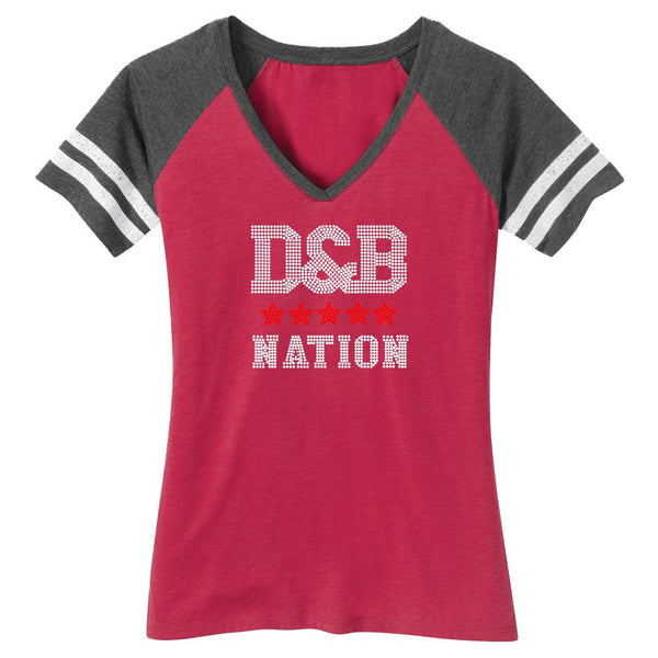 Blinged Out Ladies Football Tee