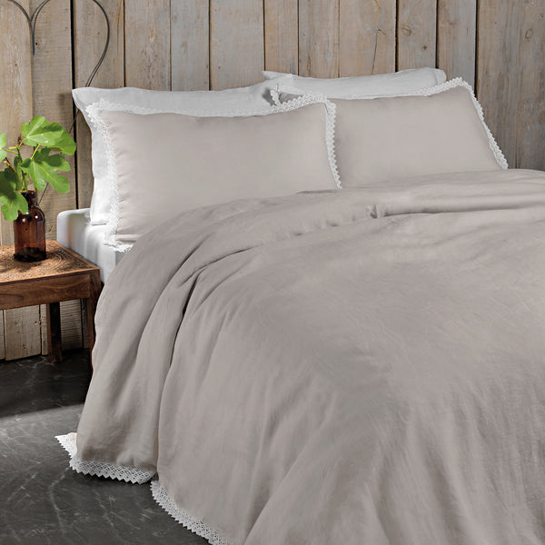 Certified Masters of Linen.  Stone wash linen with lace.  Made in Portugal. Luxury Bed Linen. High Quality bedding by Amalia Home Collection. Putty