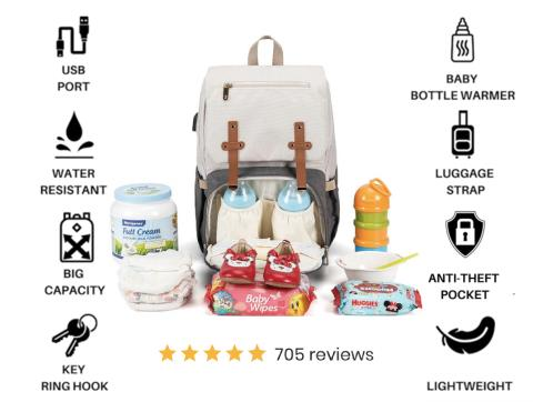 DIAPER BAG BACKPACK WITH USB CHARGING PORT