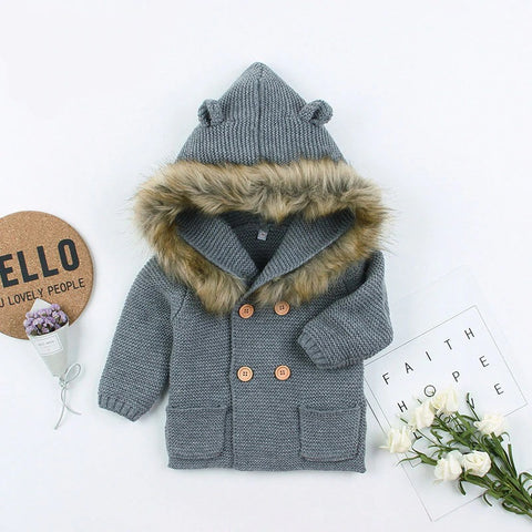 Knitted Fur Cardigan - Grey