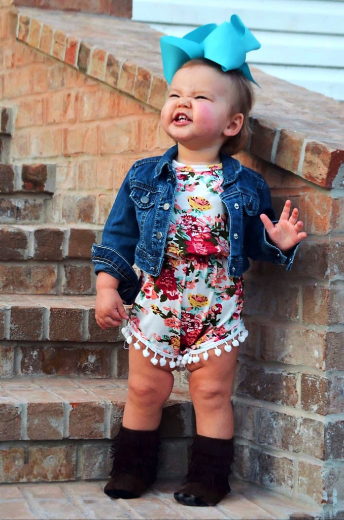 FLORAL POMPOM BABY ROMPER AND HEADBAND 2PC SET