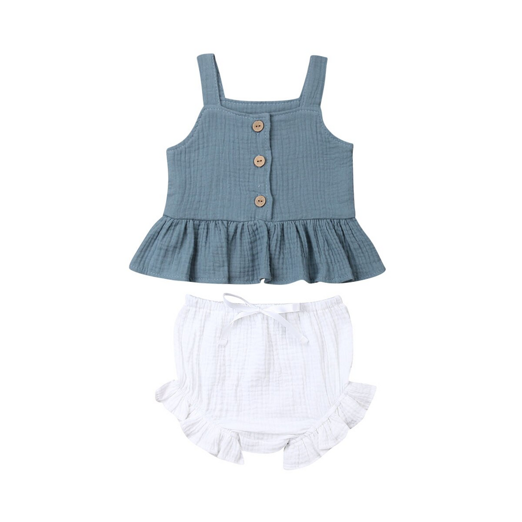Mable Bloomer Set - Dark Teal Top & White Bloomer