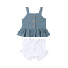 Image of Mable Bloomer Set - Dark Teal Top & White Bloomer