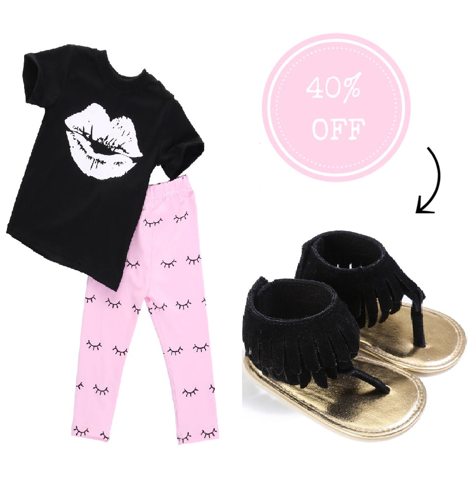Lips Eyelash Clothing Set & Tassel Moccasin Sandal Bundle