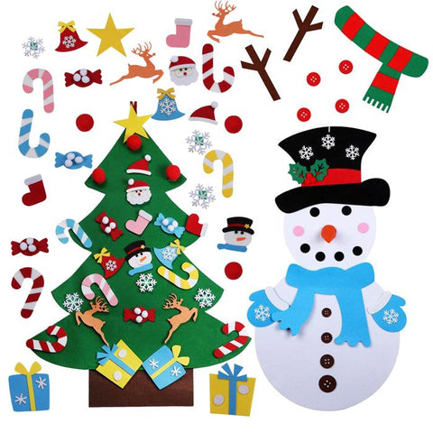 Christmas Bundle - 1 Felt Tree 1 Snowman and FREE Spare ornaments!