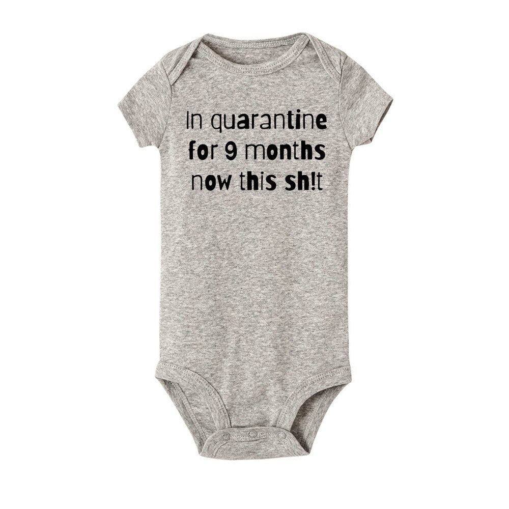 In Quarantine for 9 Months and Now This Shit Romper - Grey