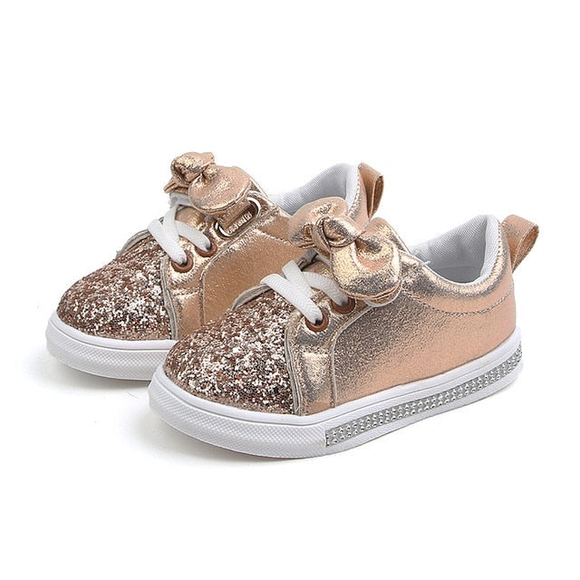 Girls Glitter Bow Princess Sneakers
