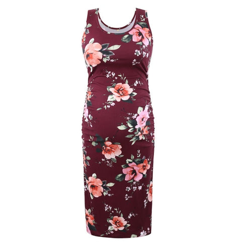 Sleeveless Fitted Maternity Dress - Red Floral
