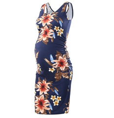 Sleeveless Fitted Maternity Dress - Blue Floral