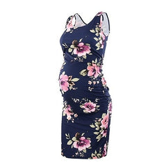 Sleeveless Fitted Maternity Dress - Pink Floral