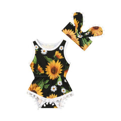 Baby Girl Sunflower Pom-Pom Romper Set