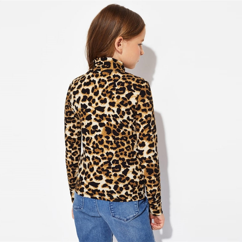 GIRLS LEOPARD PRINT LONG SLEEVE TOP (AGE 6-14YRS)