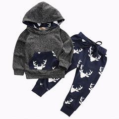 Deer hoodie baby boy clothing sets