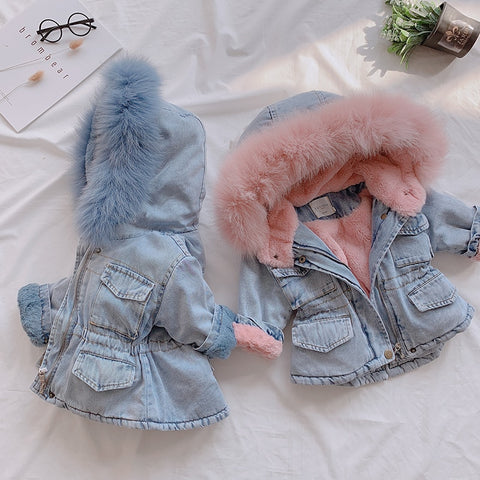 Holly Oversized Denim Fur Hooded Winter Coat Jacket