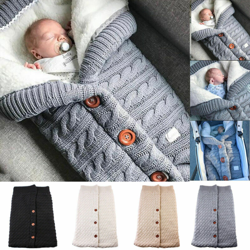 COZY STROLL - Knitted Baby Stroller Sleeping Bag