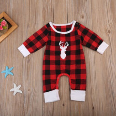 Deer Buffalo Plaid Romper