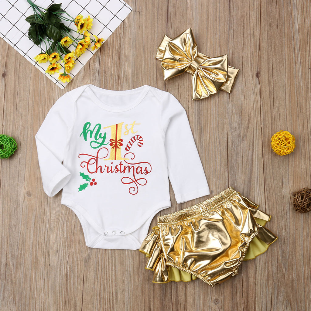 My 1st Christmas Baby Girls Clothes Set