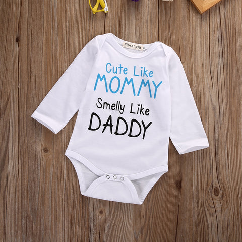 """Cute Like Mommy Smelly Like Daddy"" Romper"