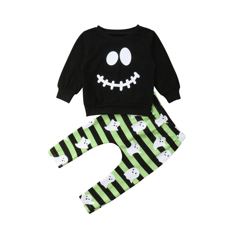 Ghost Print T-shirt and Striped Pants