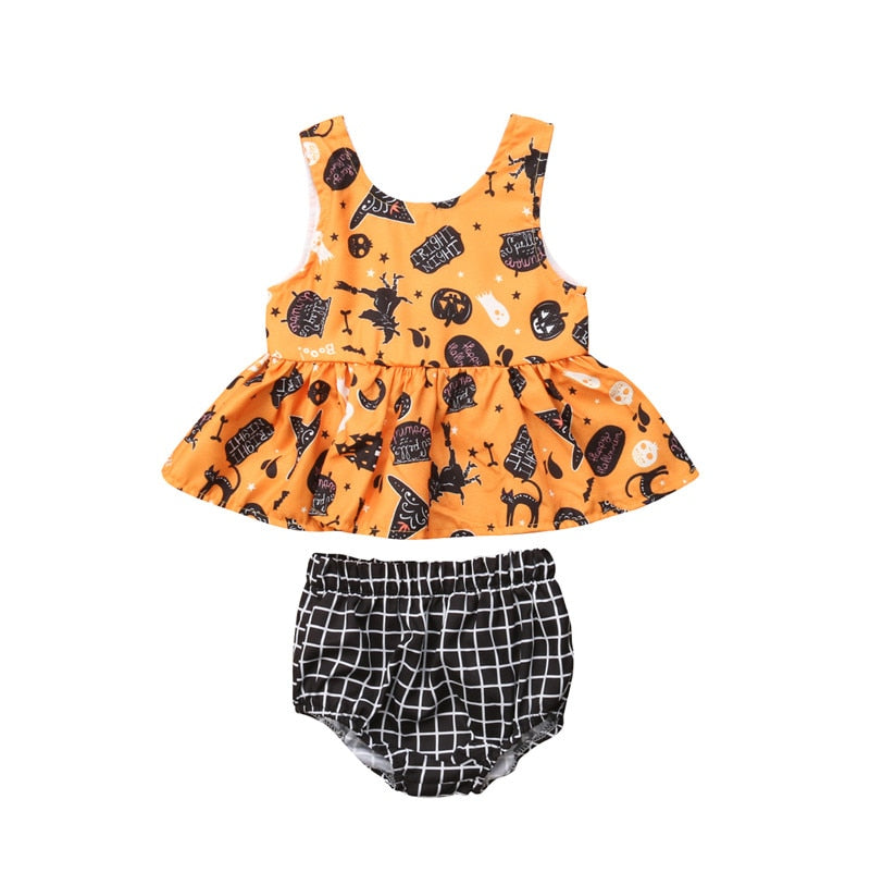 GIRLS HALLOWEEN PEPLUM TOP AND BLOOMERS