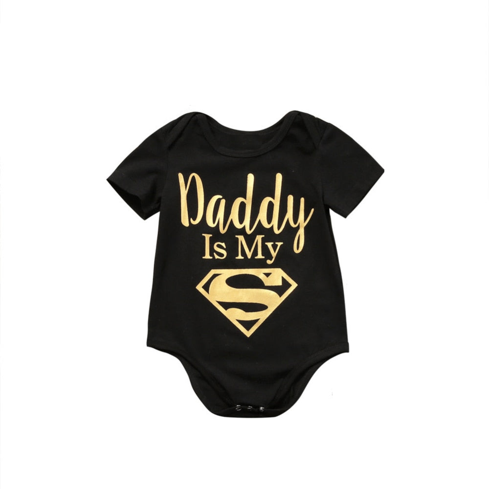 """Daddy Is My Hero"" Romper - Black"