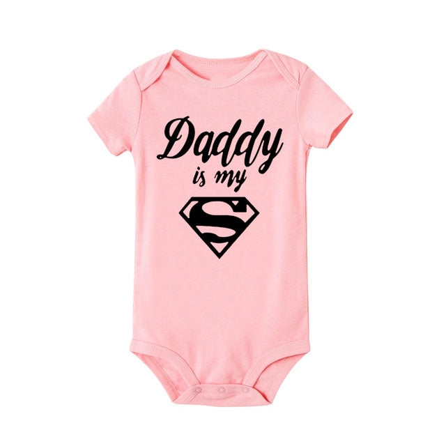 """Daddy Is My Hero"" Romper - Pink"
