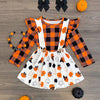 Image of Hadley Halloween Overall Skirt & Plaid Ruffled Top