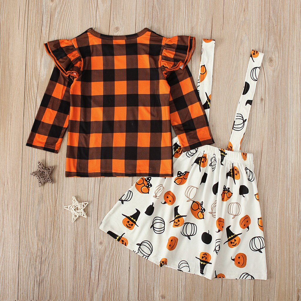 Hadley Halloween Overall Skirt & Plaid Ruffled Top
