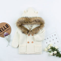 Knitted Fur Cardigan - White