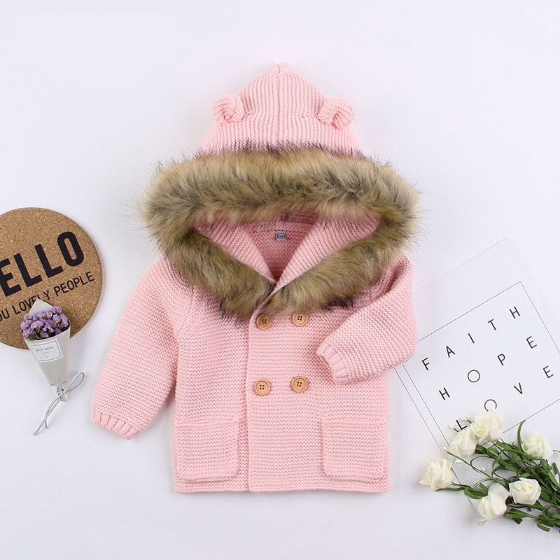 Knitted Fur Cardigan - Pink