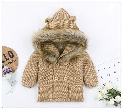 Knitted Fur Cardigan - Beige