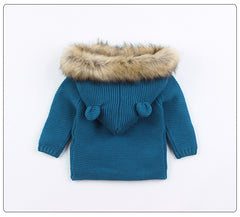 Knitted Fur Cardigan - Blue
