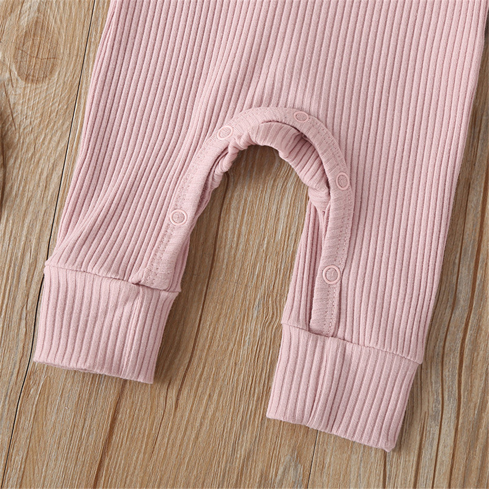 Infant Ribbed Jumpsuit - Pink