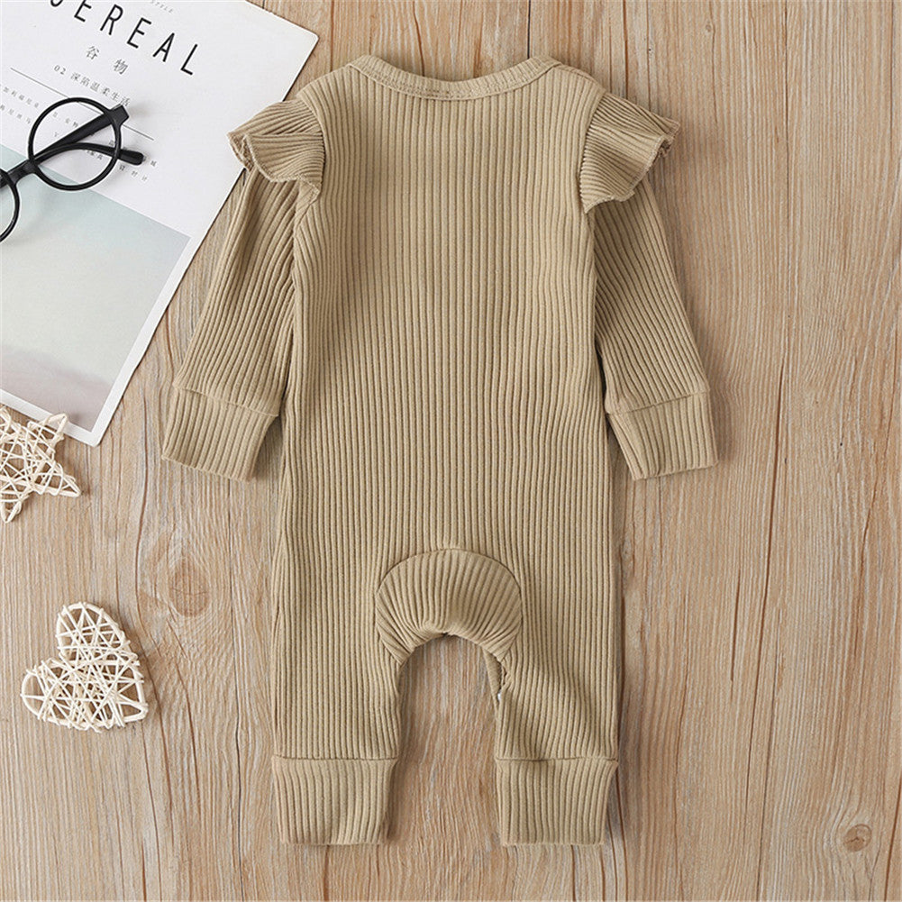 Infant Ribbed Jumpsuit - Khaki