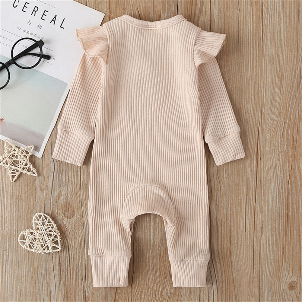 Infant Ribbed Jumpsuit - Beige
