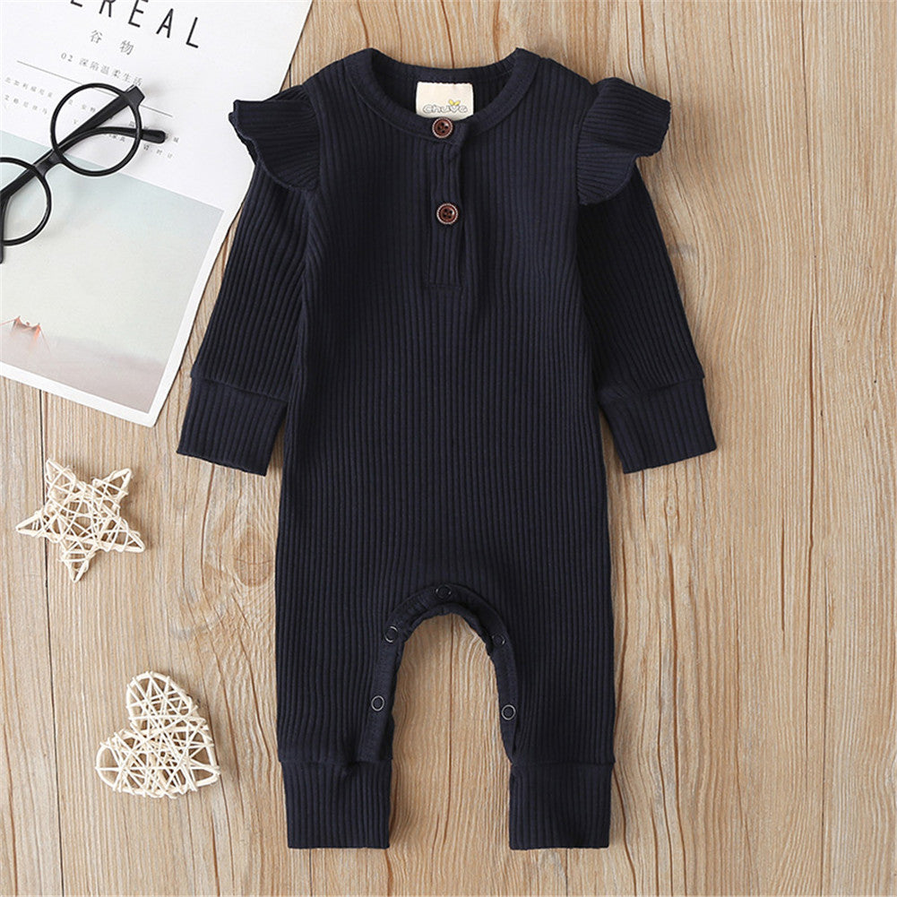 Infant Ribbed Jumpsuit - Black