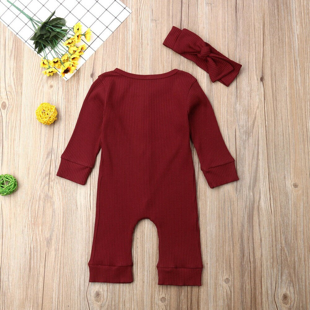 KARLEY LONG SLEEVE BUTTON ROMPER
