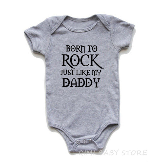 """Borth To Rock Just Like My Daddy"" Romper"