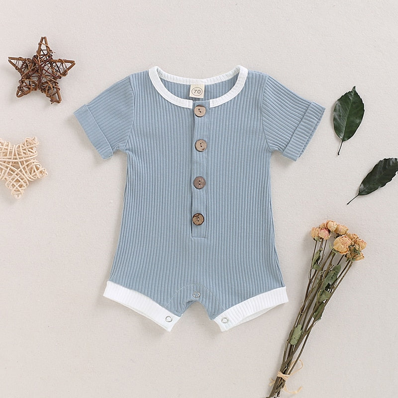 BABY TRIM RIBBED ROMPER