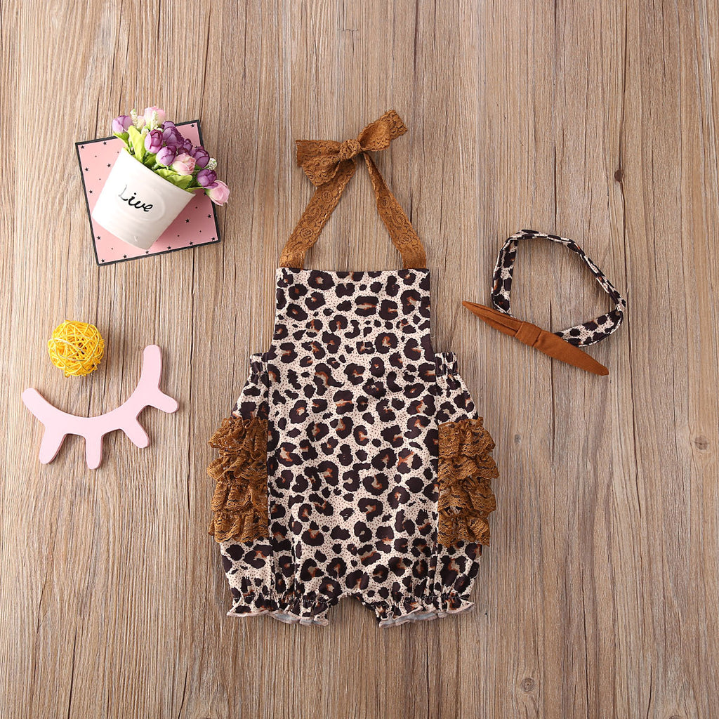 Lace Leopard Romper with Headband
