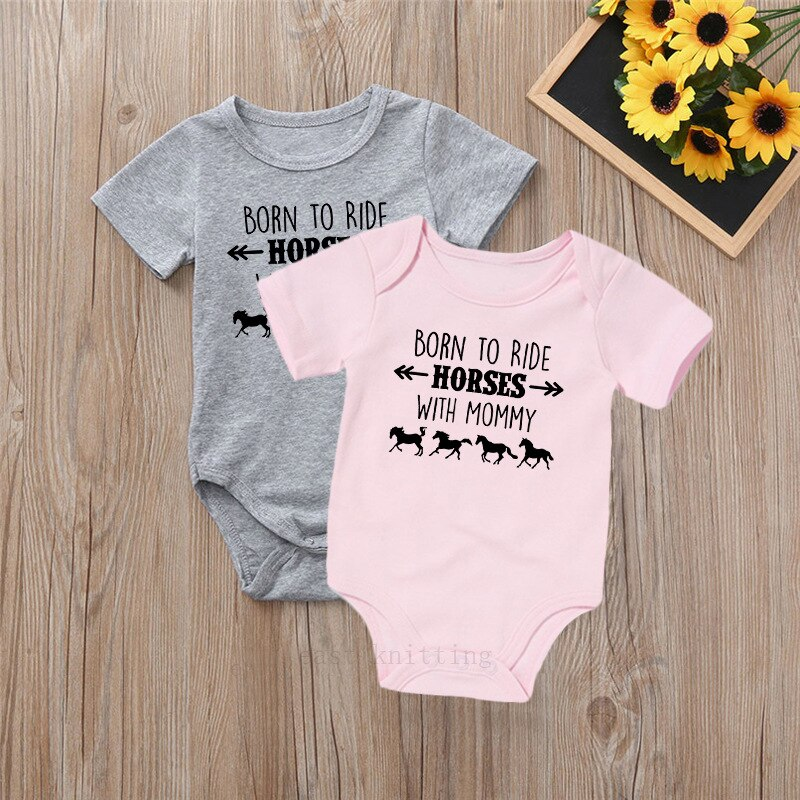 """Born to ride horses with mummy"" Romper"