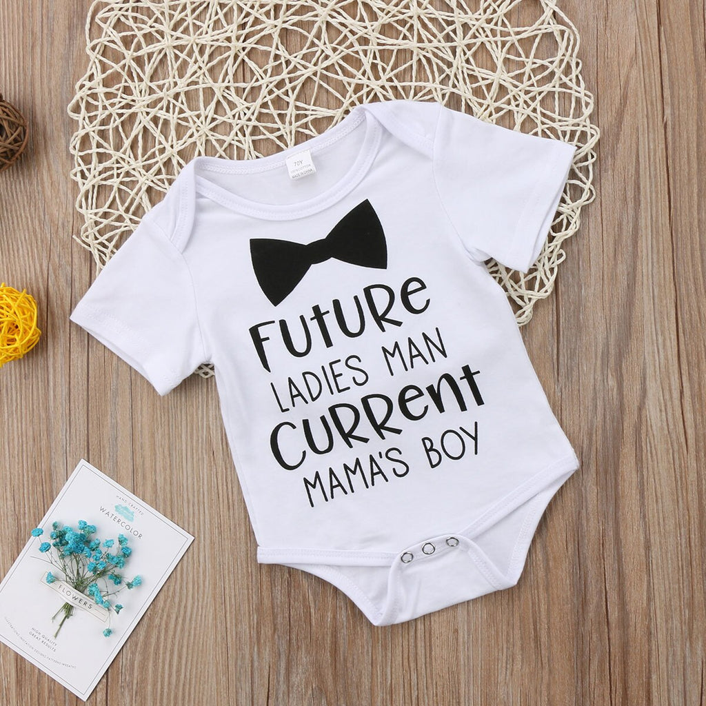 """Future Ladies Man Current Mama's Boy"" Romper"