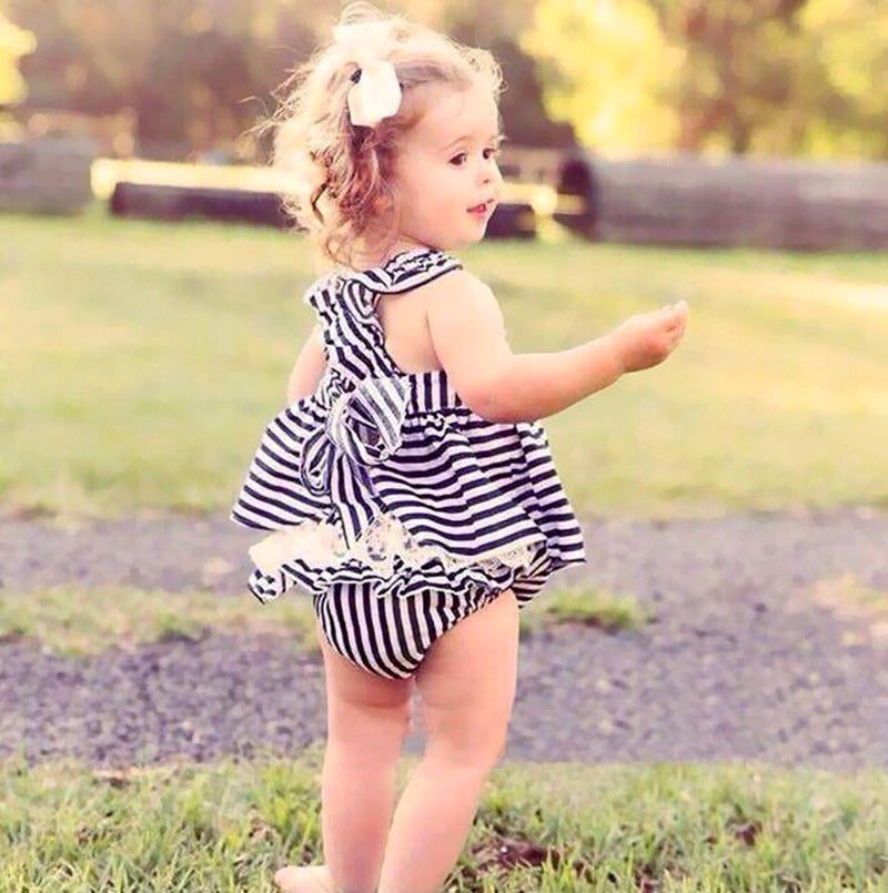 Backless Striped Bow Dress 2pc for Girls