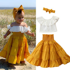 Girls Boho Maxi Skirt And Ruffled Top Set