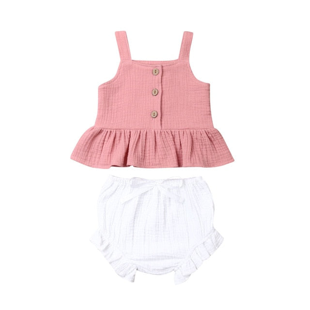 Mable Bloomer Set - Dusty Rose Top & White Bloomer