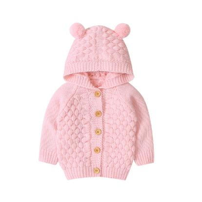 Deer Solid Knitted Coat - Pink