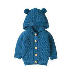 Deer Solid Knitted Coat - Blue