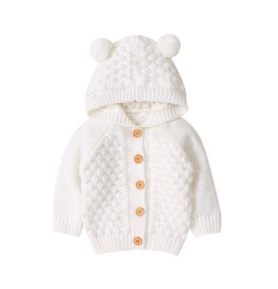 Deer Solid Knitted Coat - White
