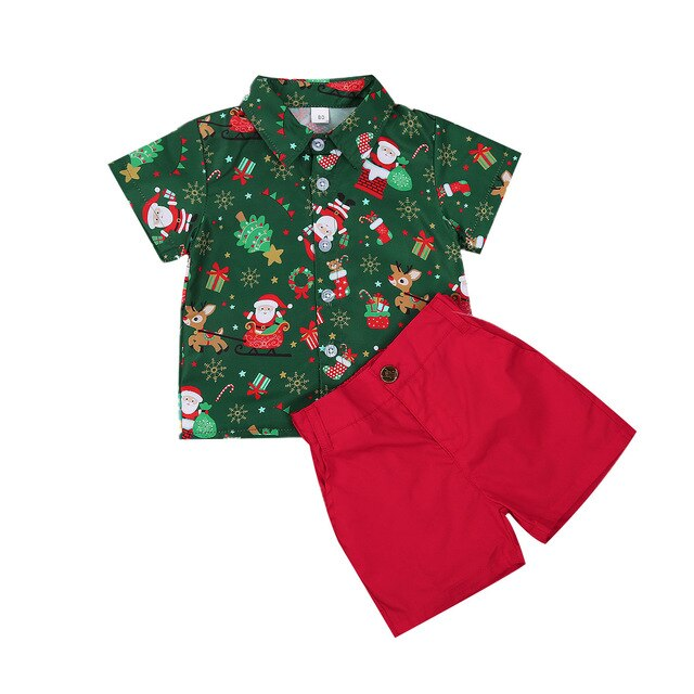 Boys Santa & reindeer christmas set - Green